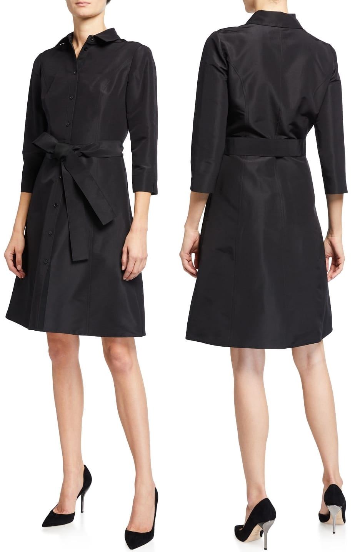 Dress respectfully and conservatively in this modest knee-length Carolina Herrera shirt dress