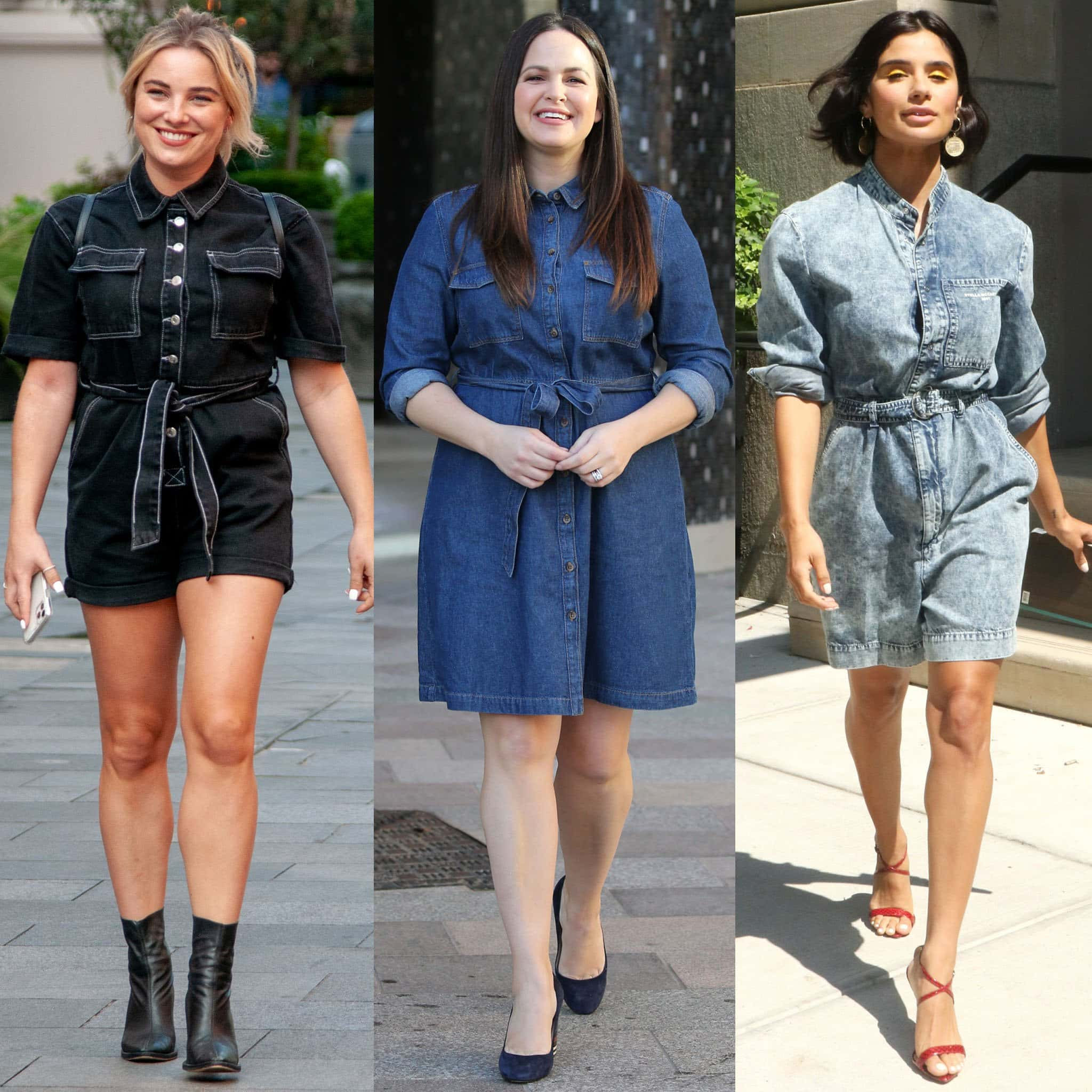 Sian Welby, Giovanna Fletcher, and Vanessa Kirby prove that denim dresses can work with any shoe styles