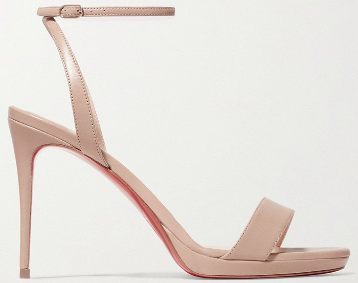 Set on a thin stiletto heel, these beige Loubi Queen 100 sandals been made in Italy from smooth leather and have adjustable buckle-fastening ankle straps