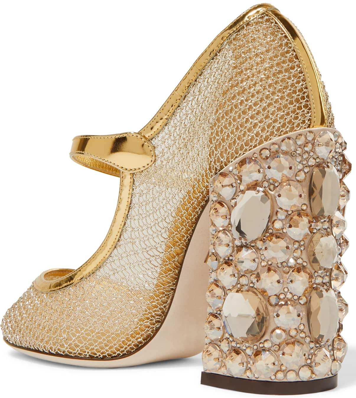 Dolce & Gabbana's Mary Jane pumps have been made in Italy from gold mesh and are defined by a striking crystal-embellished block heel