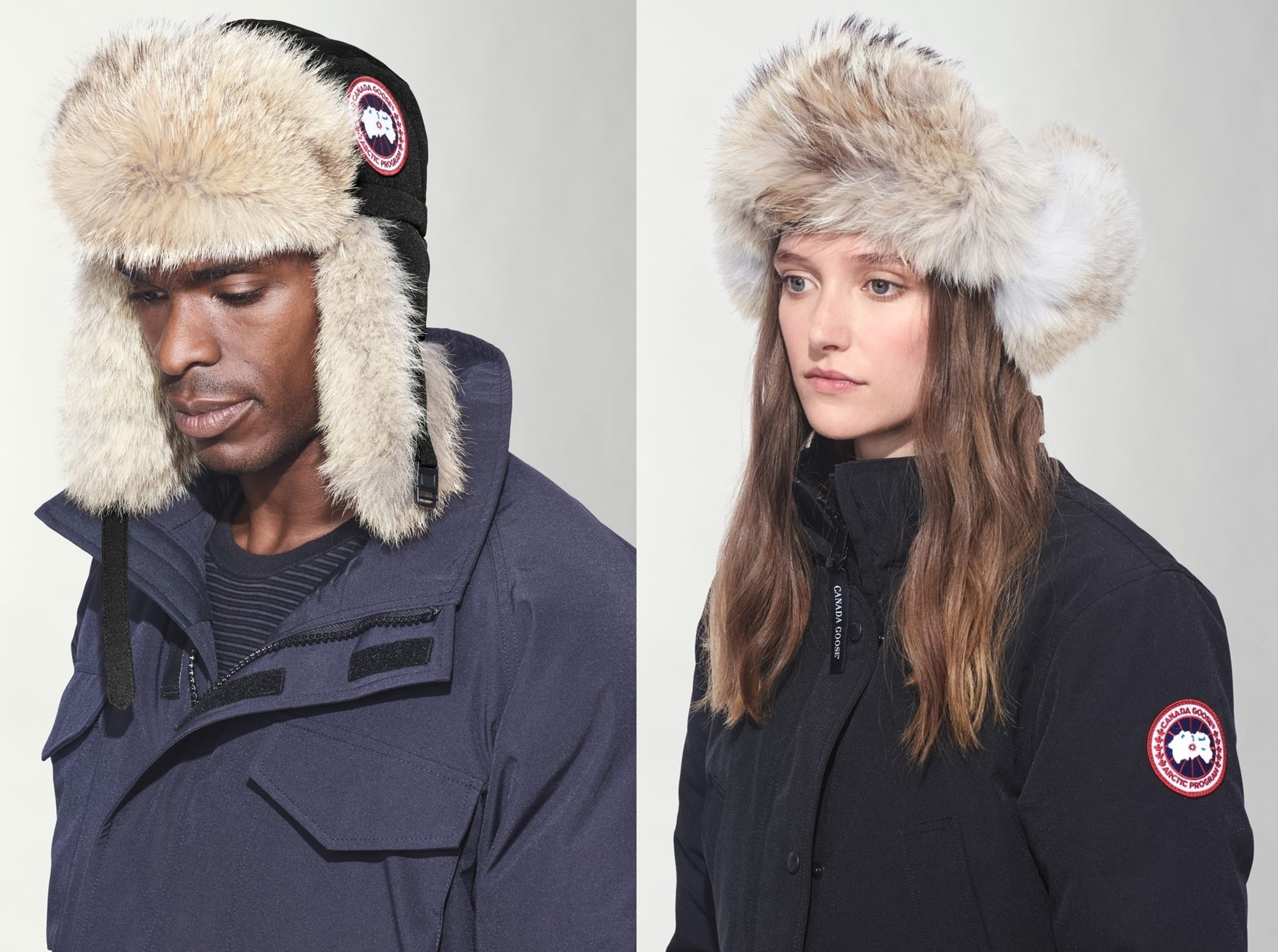 Sumptuous, genuine coyote fur warms the ruff visor and earflaps of a classic aviator hat filled with cozy down