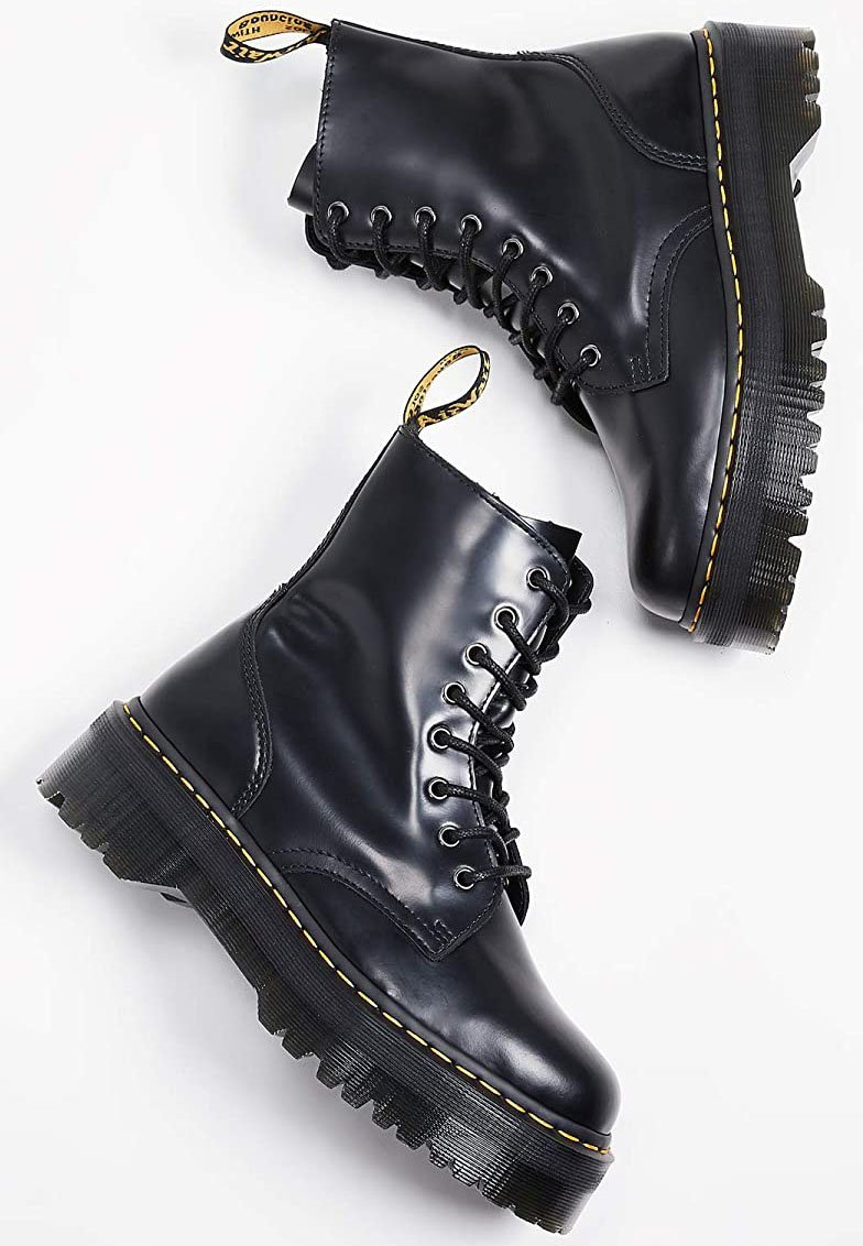 The classic Dr. Martens Jadon boots feature a grunge-punk vibe with chunky platforms