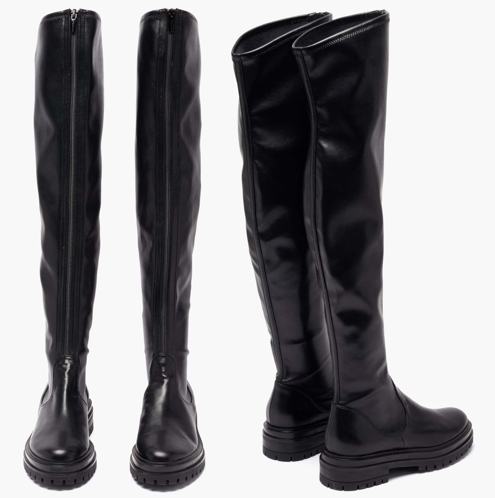 Gianvito Rossi's black leather Marsden over-the-knee boots are set on chunky ridged rubber soles