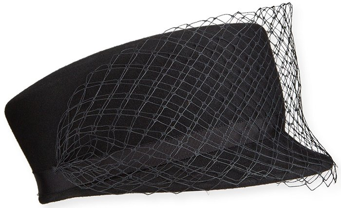 A simple black hat with a veil from Gigi Burris should add a hint of sophistication to your funeral look
