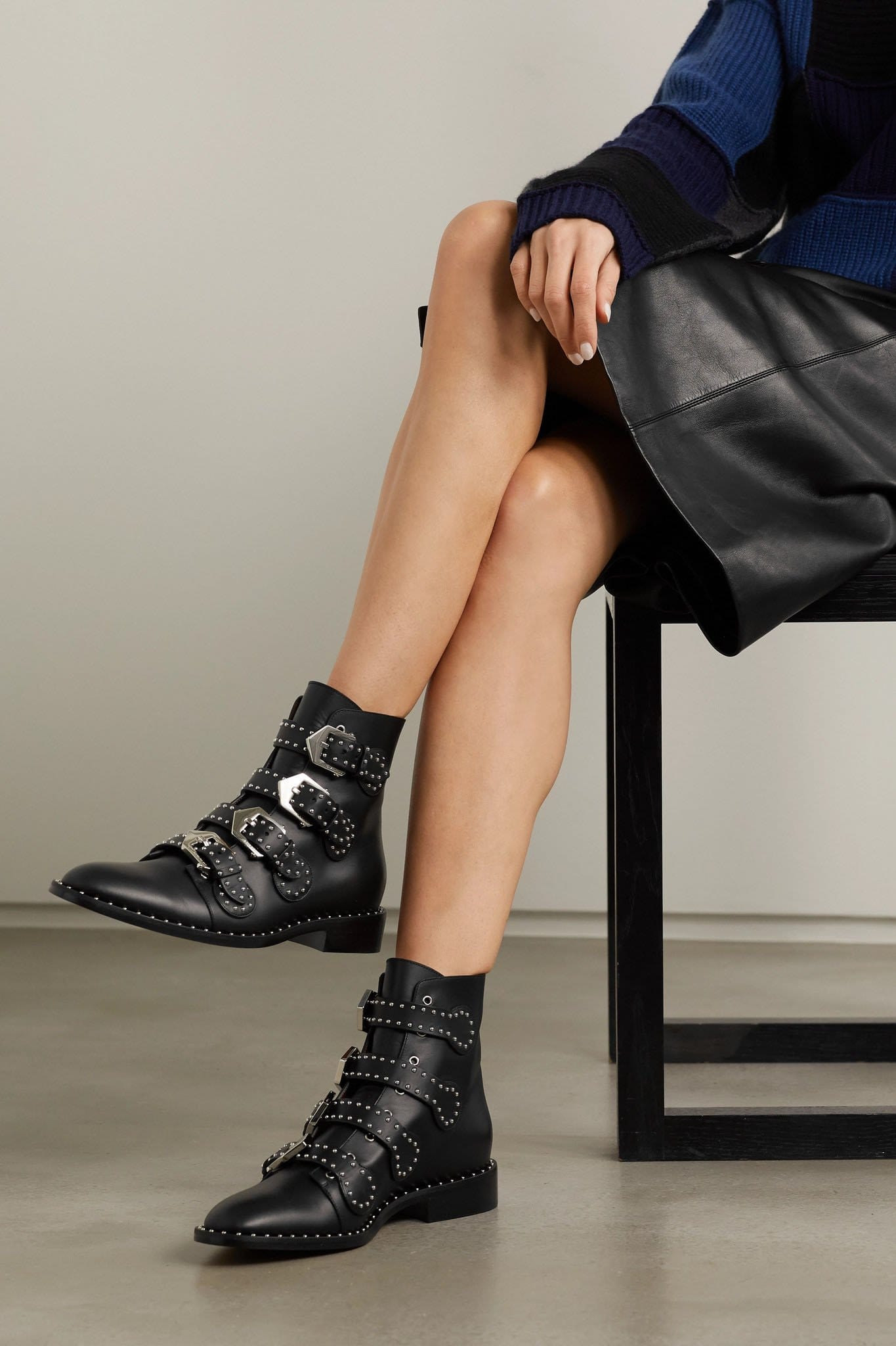Give your classic leggings some edge with Givenchy studded ankle boots