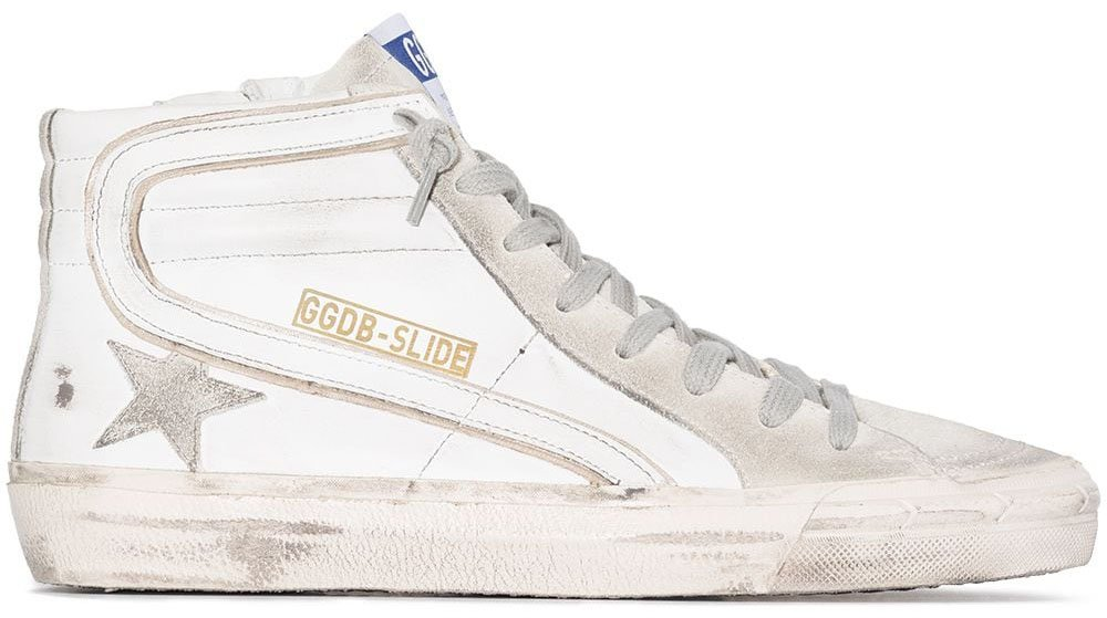 The Golden Goose Slide features the label's signature distressed effect