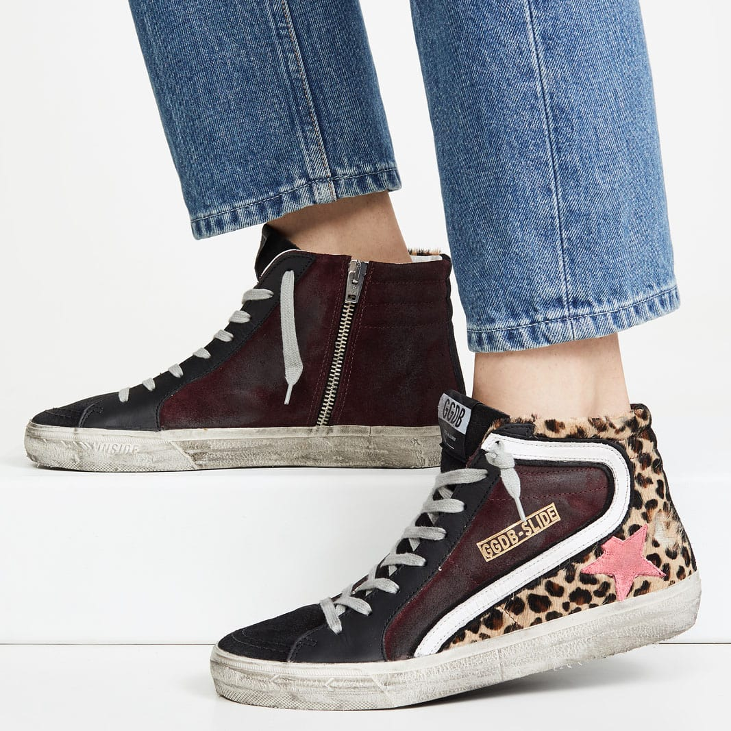 Golden Goose Slide sneakers in animal-printed haircalf with suede and leather cowhide trims