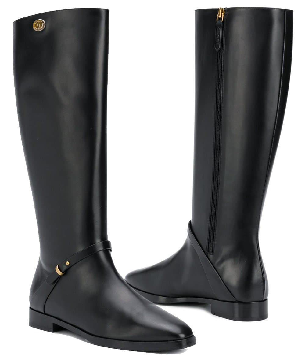 Splurge on the classic, elegant Gucci riding boots with GG logo medallion and tiny buckle detailing