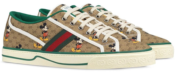 """Gucci x Disney beige and brown canvas """"Mickey Mouse"""" Tennis 1977 sneakers"""