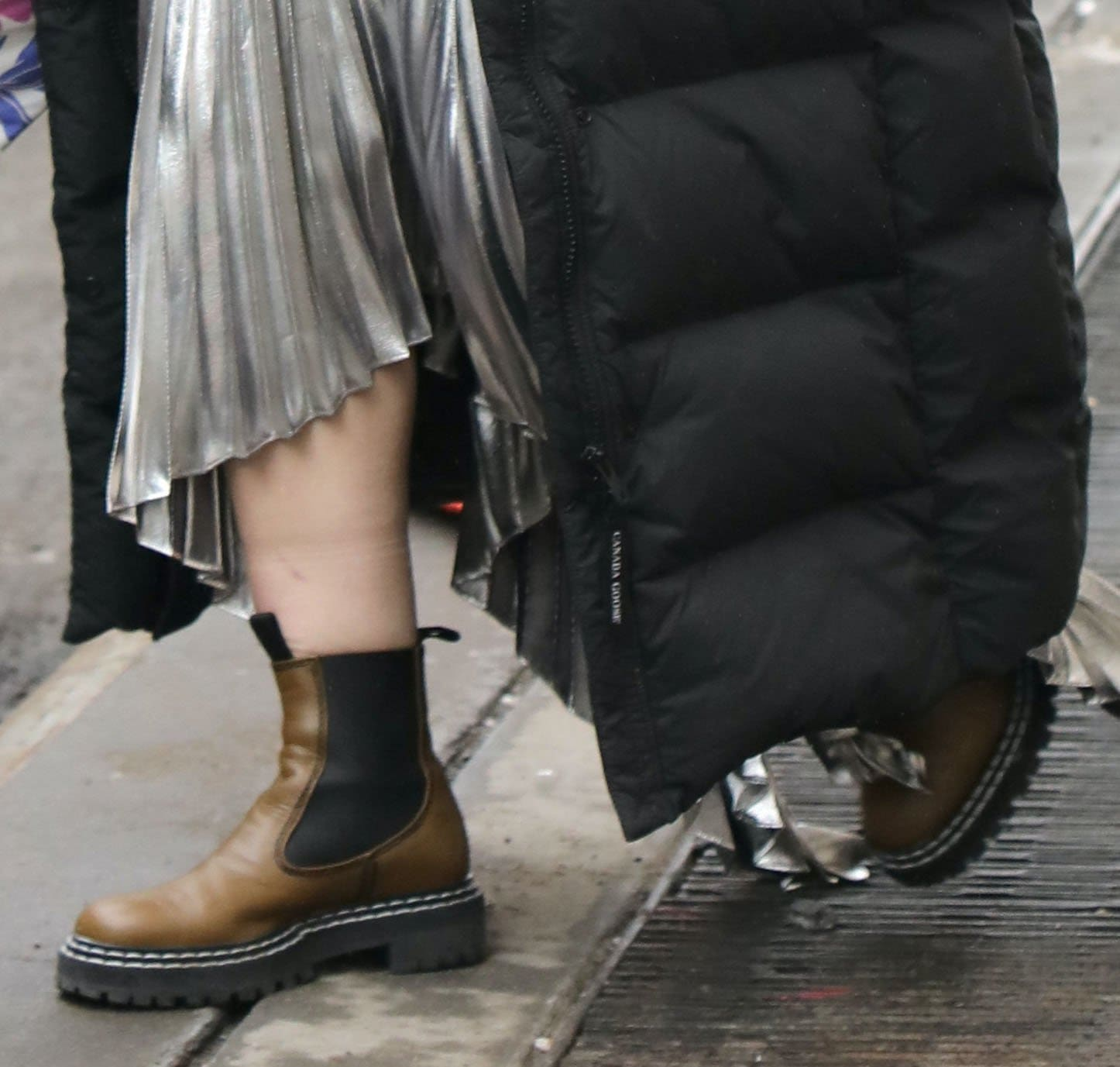 Hilary Duff teams her dress with Proenza Schouler Chelsea boots