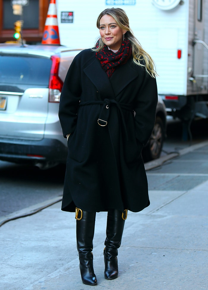 Hilary Duff filming for the final season of Younger in Downtown Manhattan on January 28, 2021