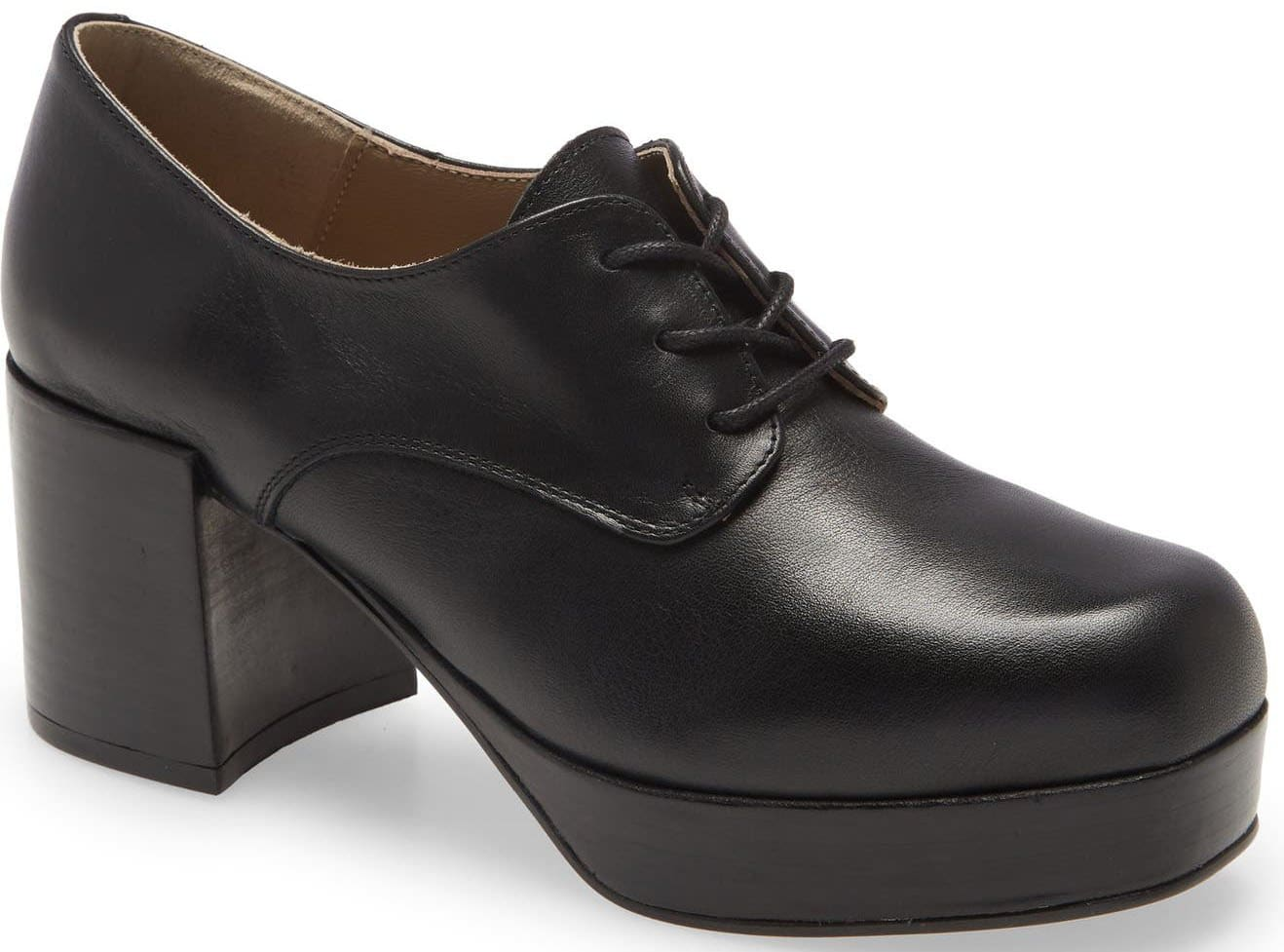 Chunky heel and platform elevate a classic oxford-inspired profile
