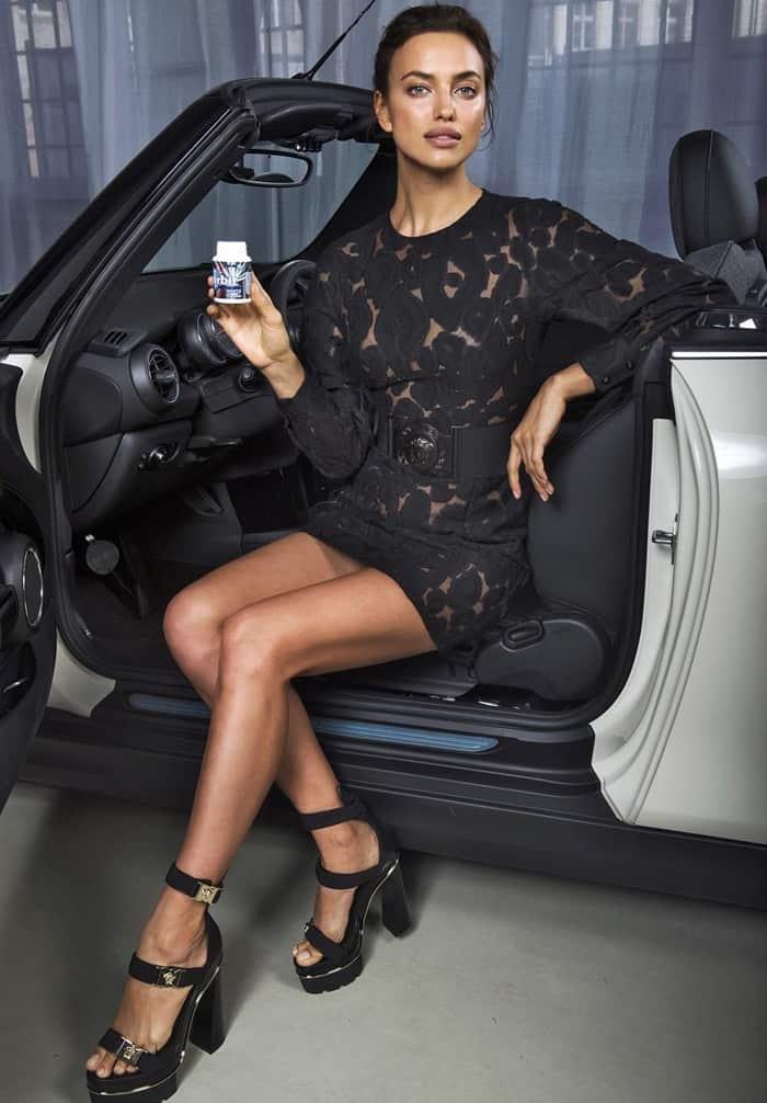 Irina Shayk wears chunky heels at a Wrigley's photocall