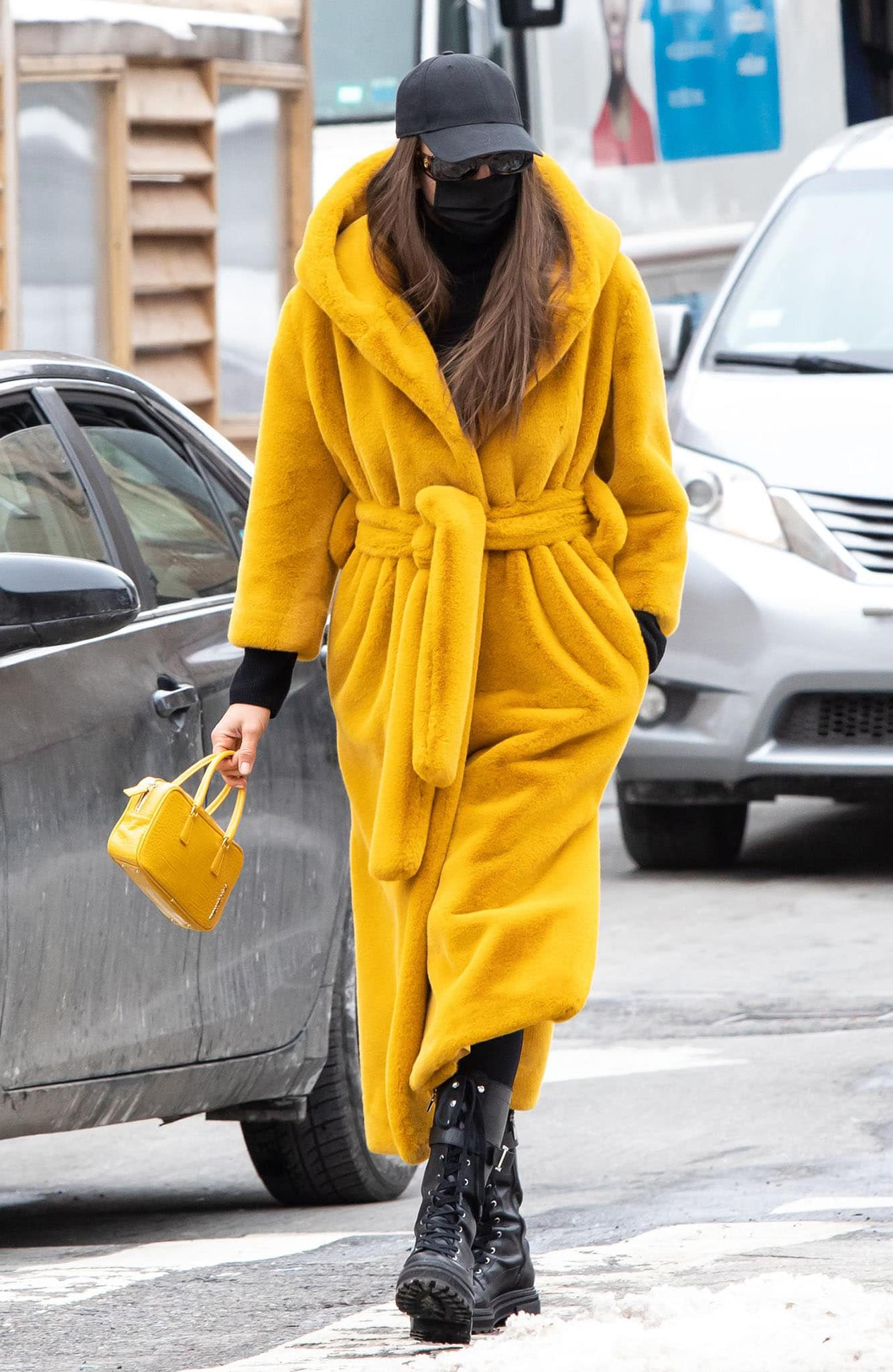 Irina Shayk explores her street style with bright-colored outfits
