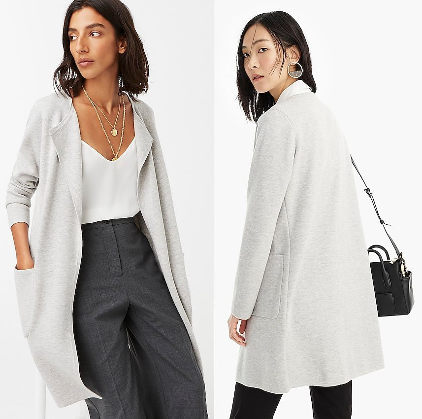 The super soft Juliette collarless sweater-blazer is a chic and comfy cover up for your camisoles and tank tops