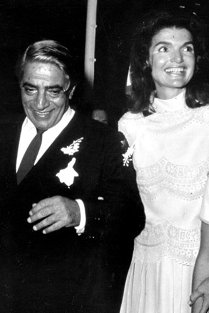 Jackie Kennedy weds Greek shipping magnate Aristotle Onassis in a white Valentino wedding dress in 1968
