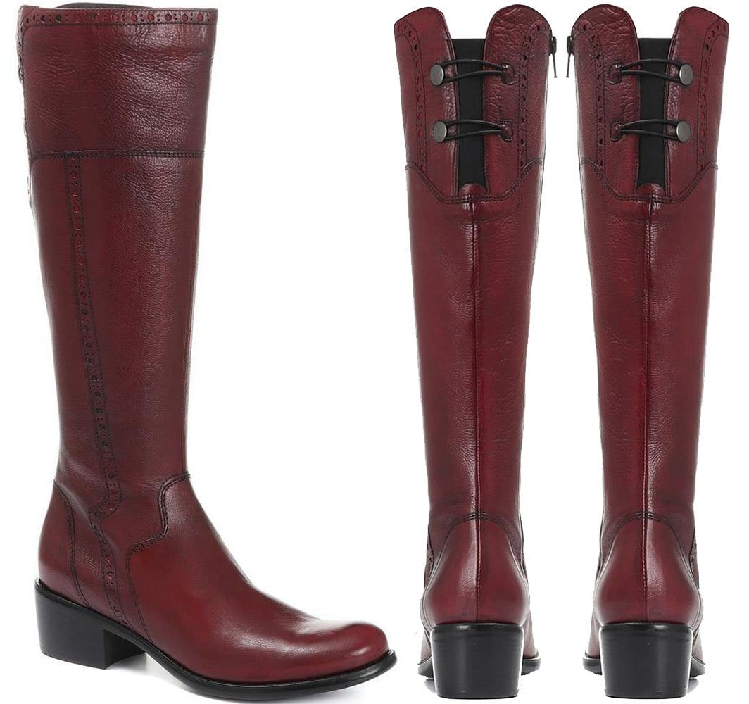 For a retro '70s look, go for the Jones Bootmaker burgundy-colored leather knee boots