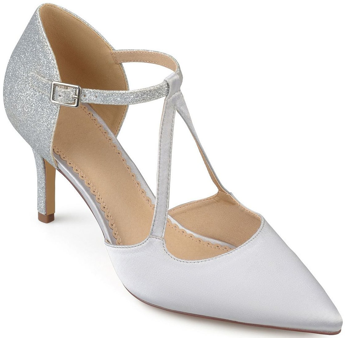 The elegant Elodie Mary Jane heels from Journee Collection feature a glittery heel panel and a sexy strappy silhouette