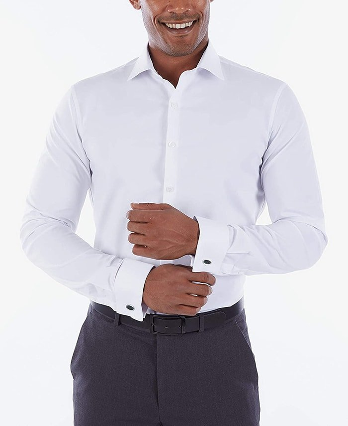 Complete your business look with Kenneth Cole's Technicole white shirt with french cuffs