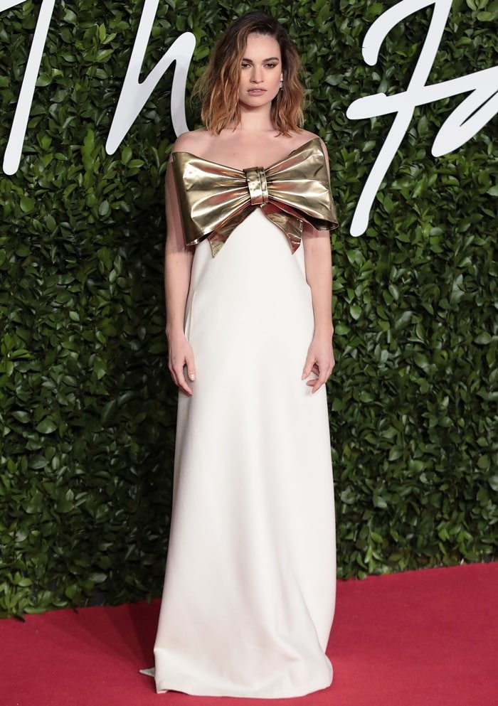 Lily James wears Valentino Fall 2019 Haute Couture at The Fashion Awards 2019
