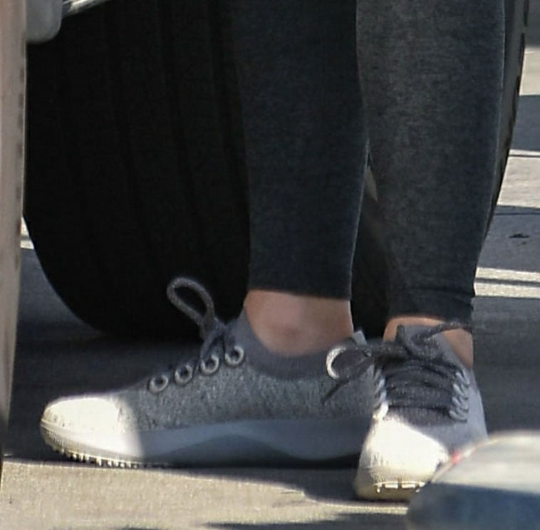 Lucy Hale slips into a pair of All Birds Wool Dasher Mizzles shoes