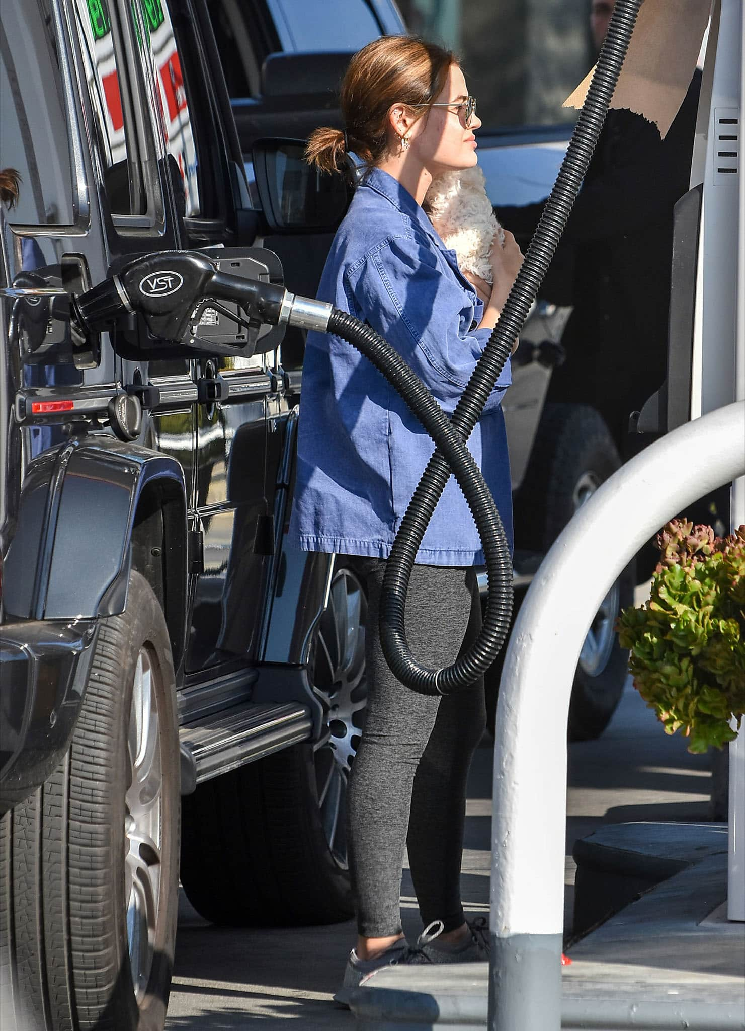Lucy Hale fills up her car with her new dog at a gas station in Los Angeles on February 10, 2021