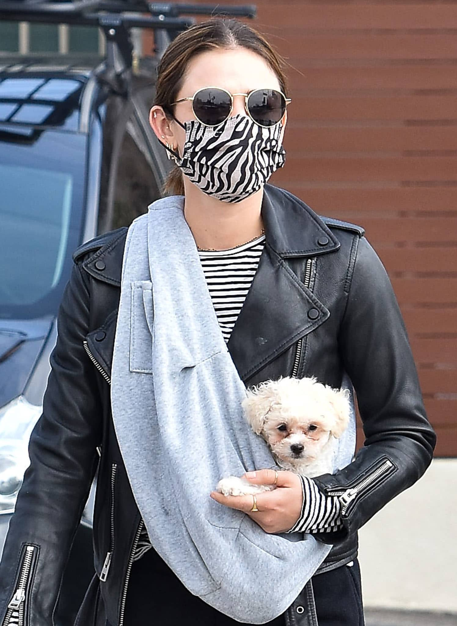 Lucy Hale stays safe with a Maskc zebra-striped face mask