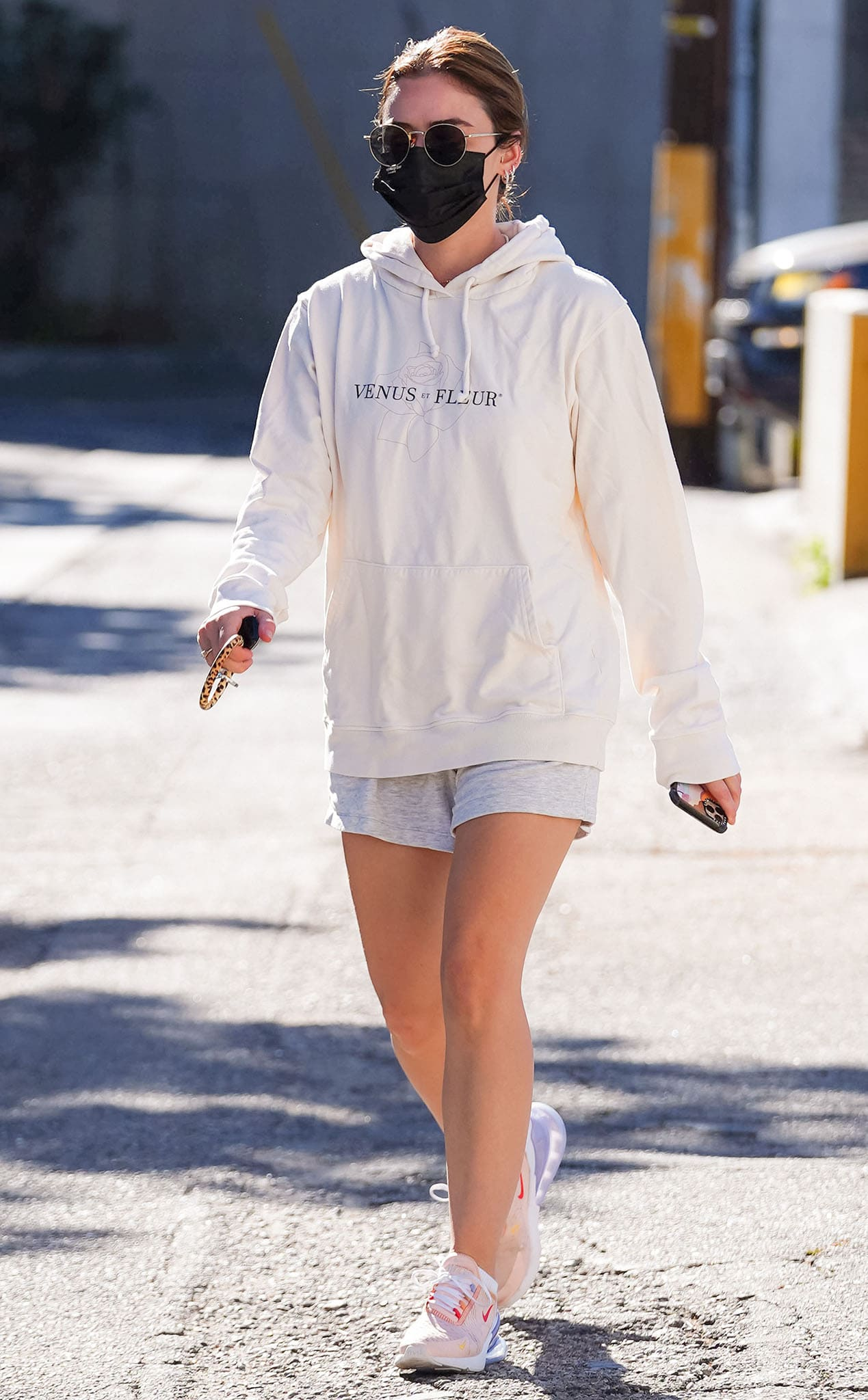 Lucy Hale strolls around Studio City in Venus Et Fleur hoodie on February 5, 2021