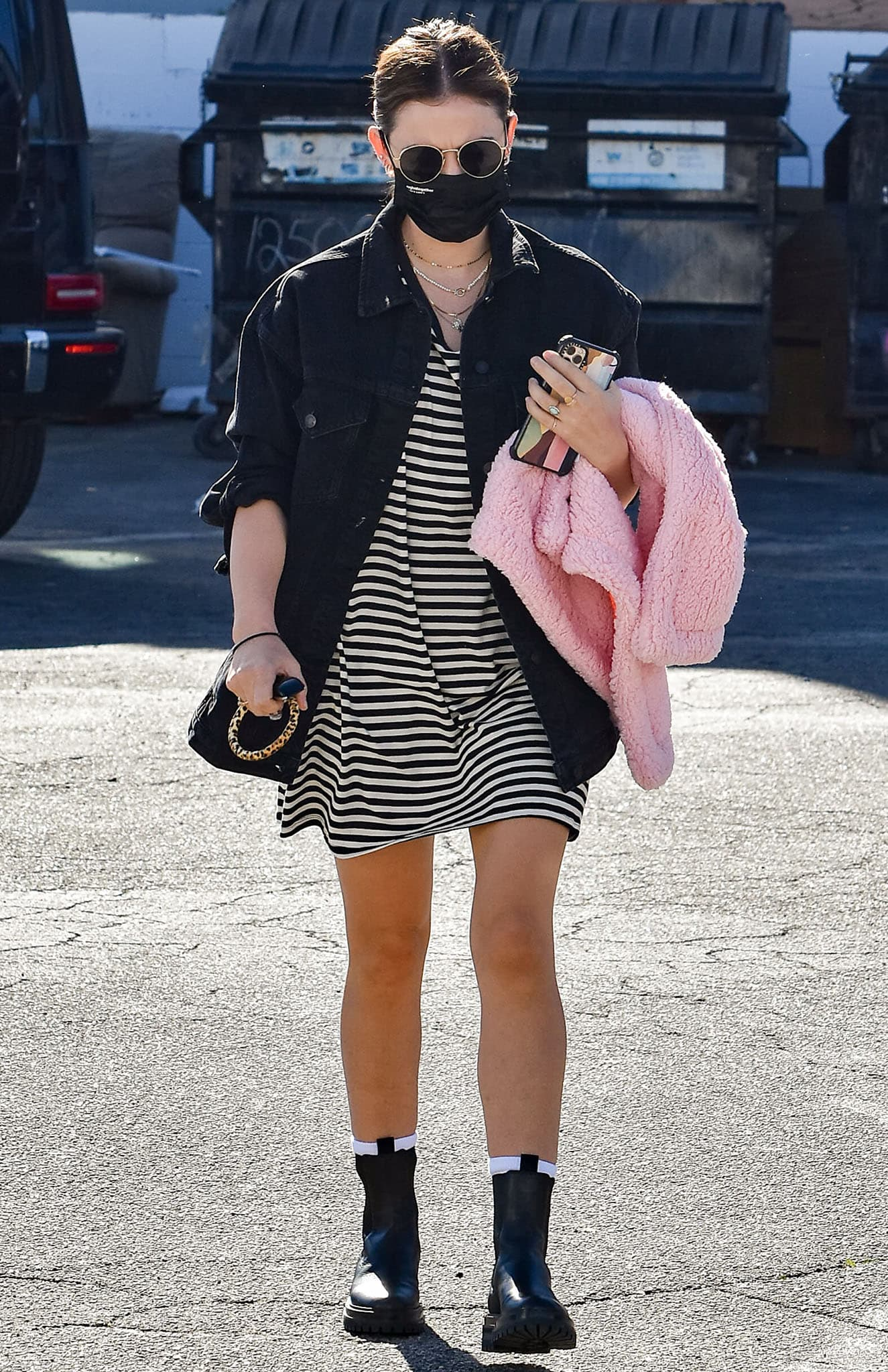 Lucy Hale steps out to run errands in a striped shirt dress and black denim jacket on February 6, 2021