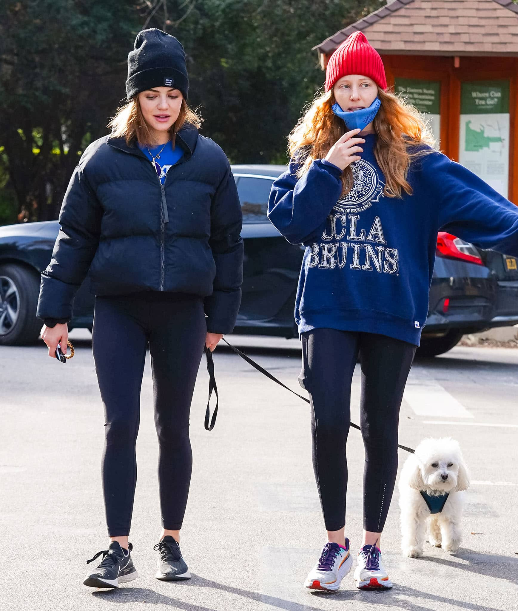 Lucy Hale goes hiking with Elvis and a female friend at Fryman Canyon on February 15, 2021