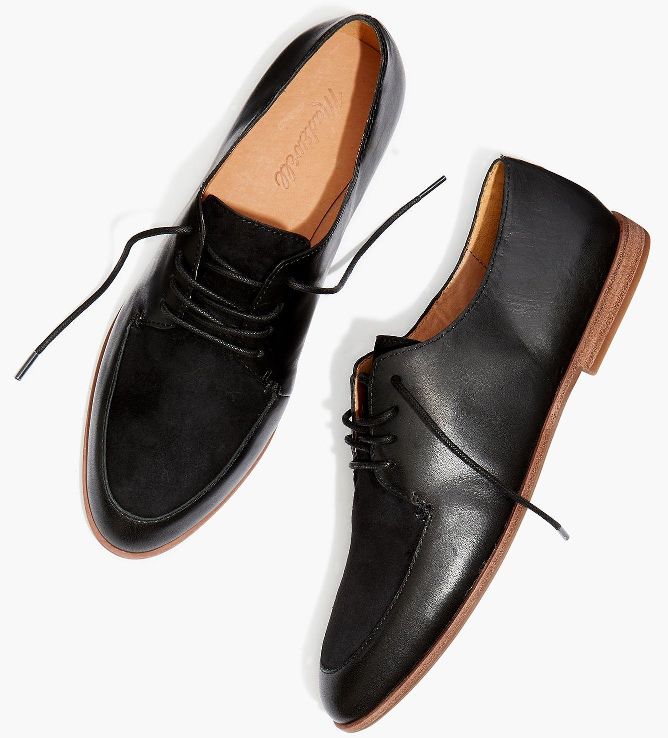 Casual yet refined leather and suede oxfords that have boyish, timeless appeal