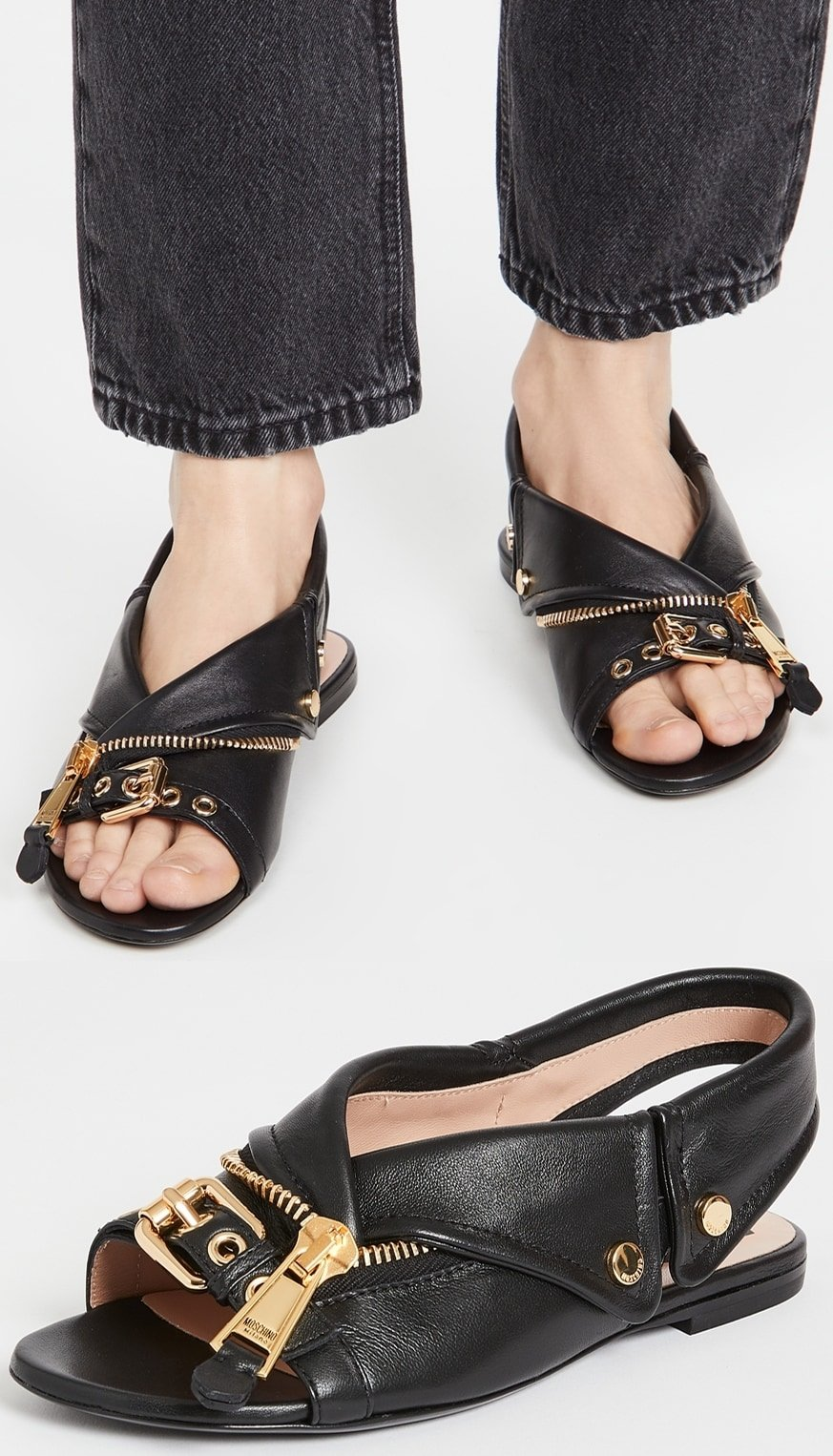 Flat slingback sandals with gold-tone hardware inspired by biker jackets
