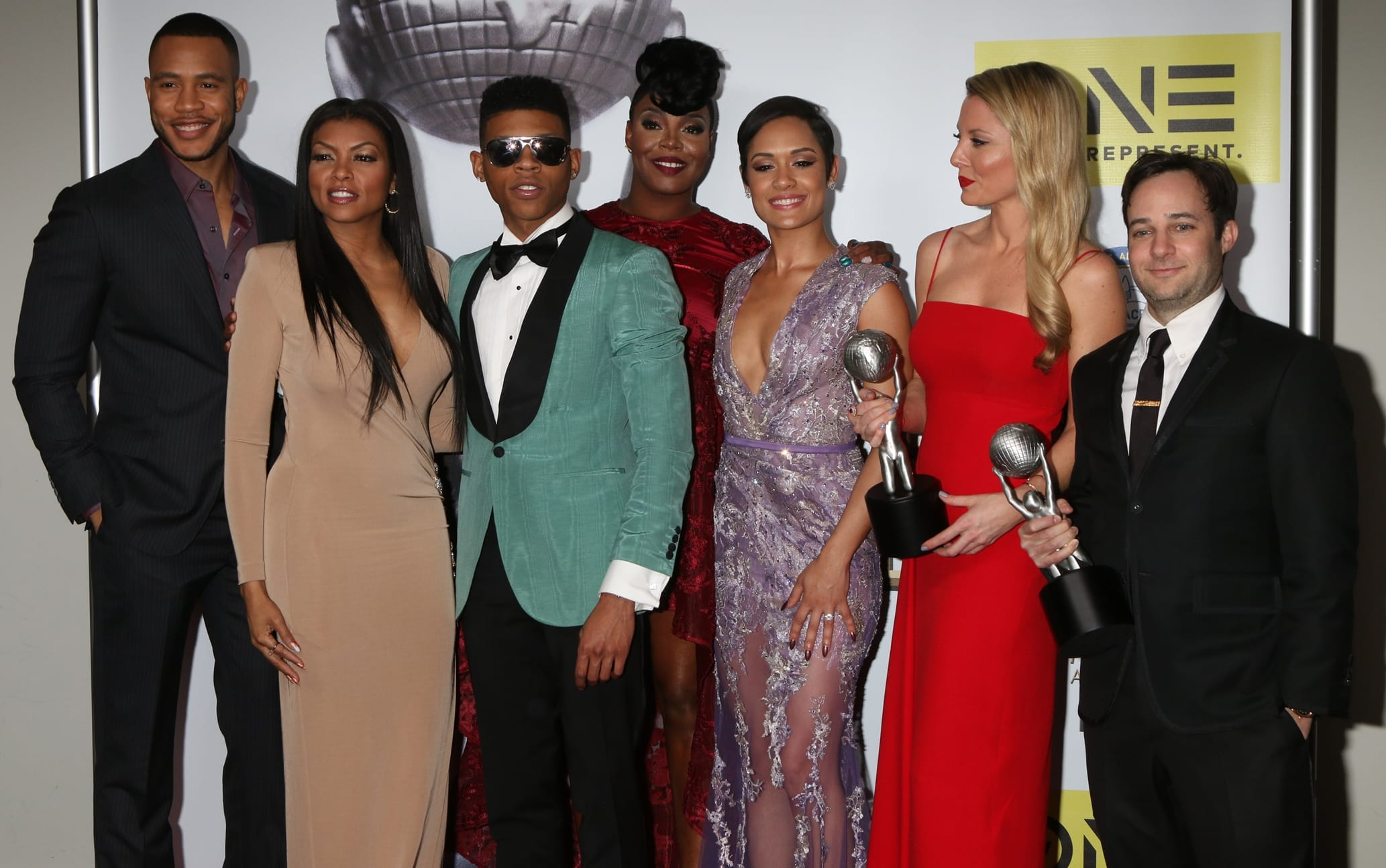 Jussie Smollett, Gabourey Sidibe, Trai Byers, Taraji P. Henson, Bryshere Y. Gray aka Yazz, Grace Gealey, Kaitlin Doubleday, and Danny Strong pose in the press room during the 47th NAACP Image Awards