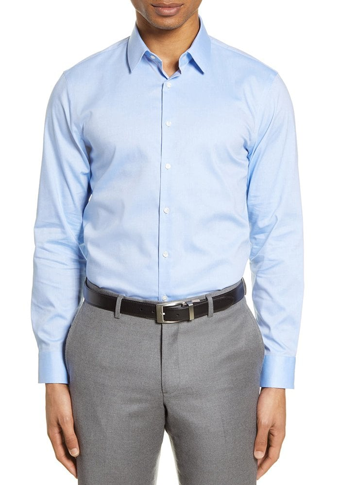 You may opt for a simple solid dress shirt to create a formal look
