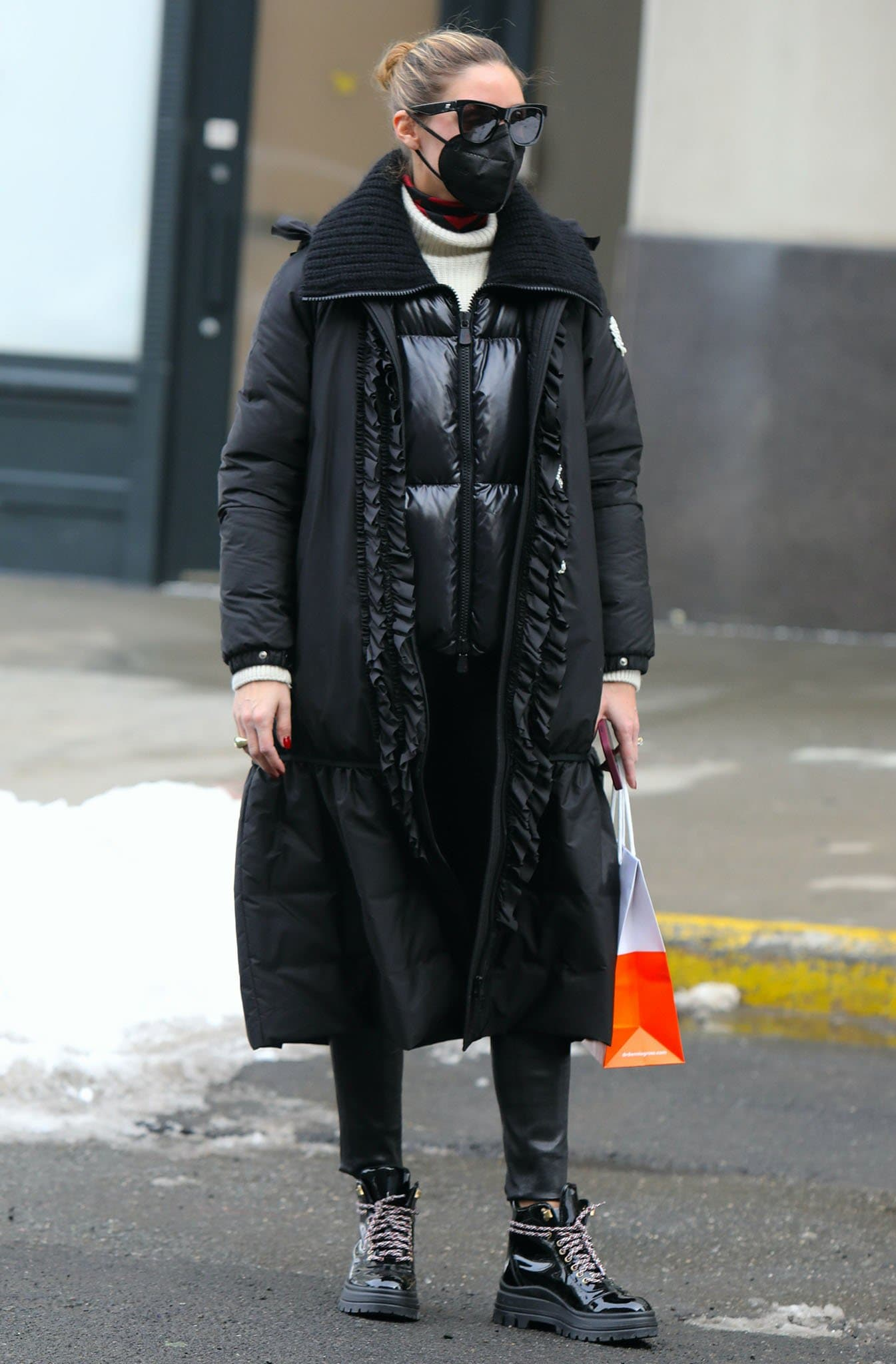 Olivia Palermo braves the New York City snowstorm on February 12, 2021
