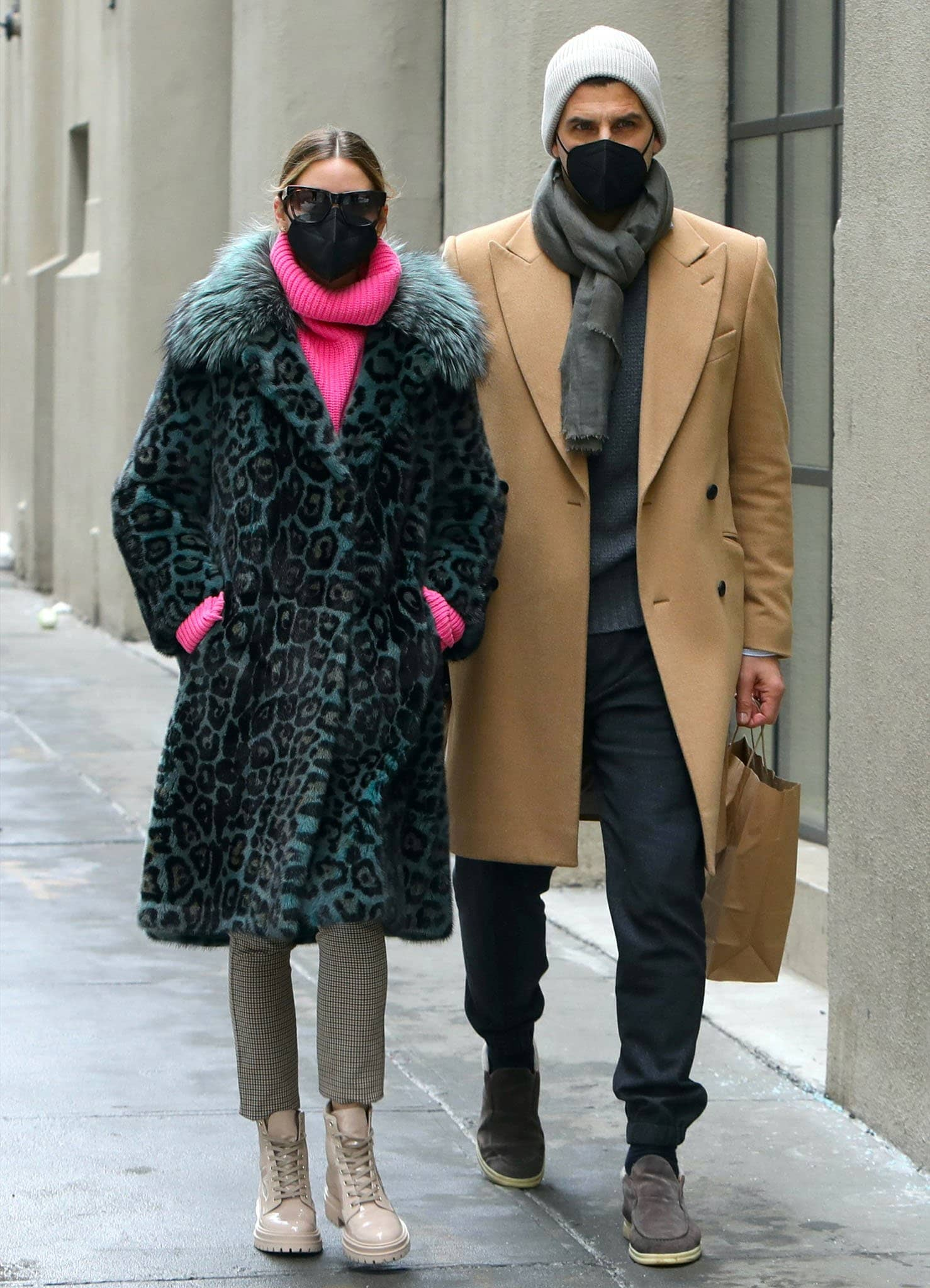 Olivia Palermo and husband Johannes Huebl stroll around Downtown Brooklyn on February 15, 2021