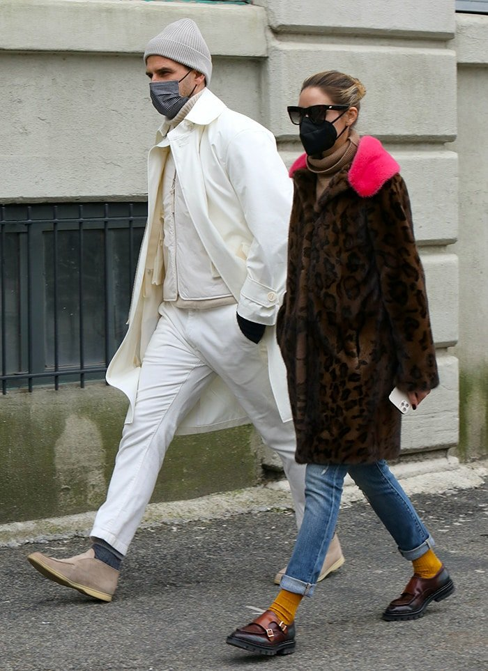 Johannes Huebl and Olivia Palermo out for lunch in Dumbo, Brooklyn on January 31, 2021