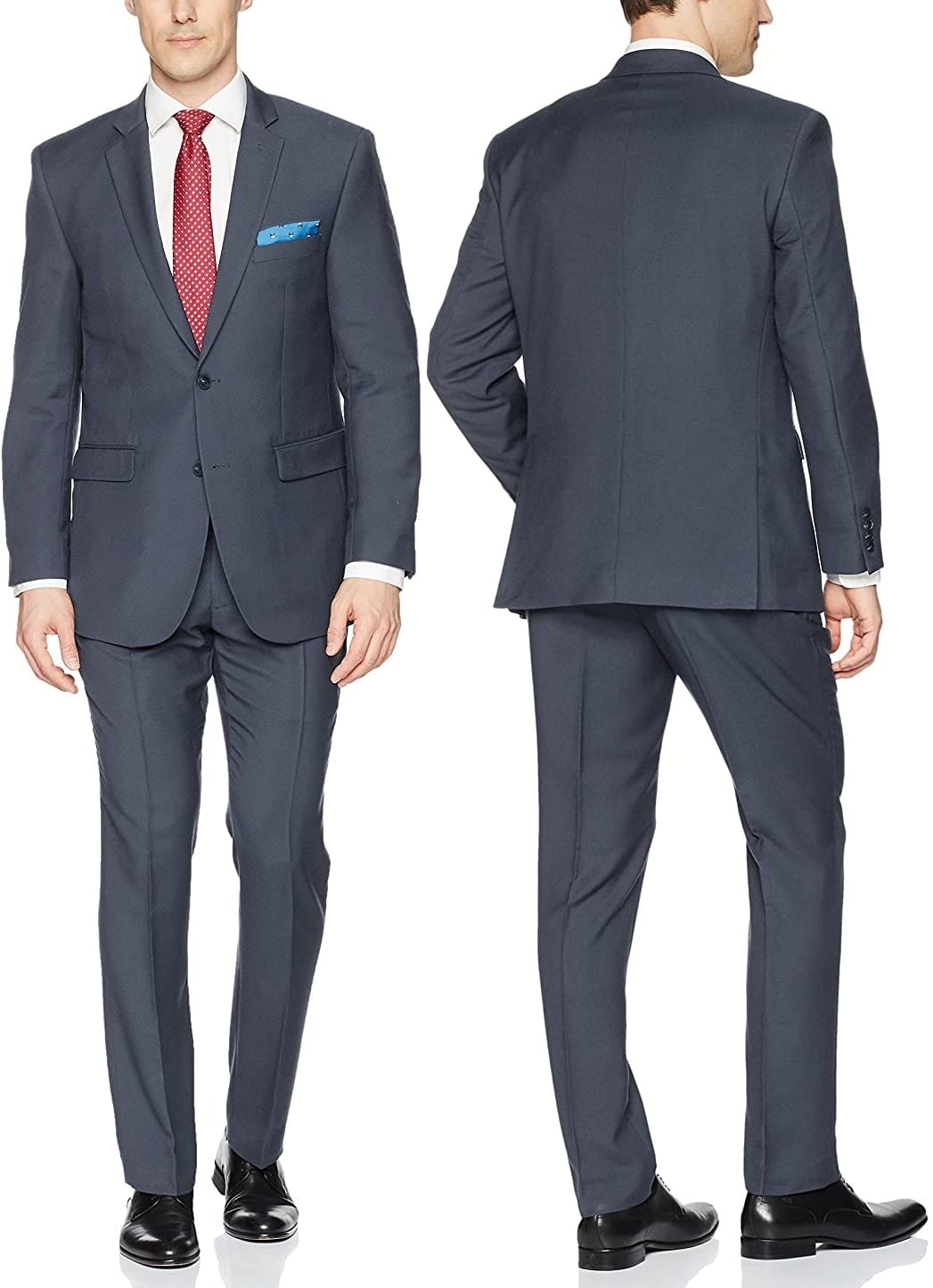 Wearing a neat, tailored black suit like the Perry Ellis suit set is a general rule for men