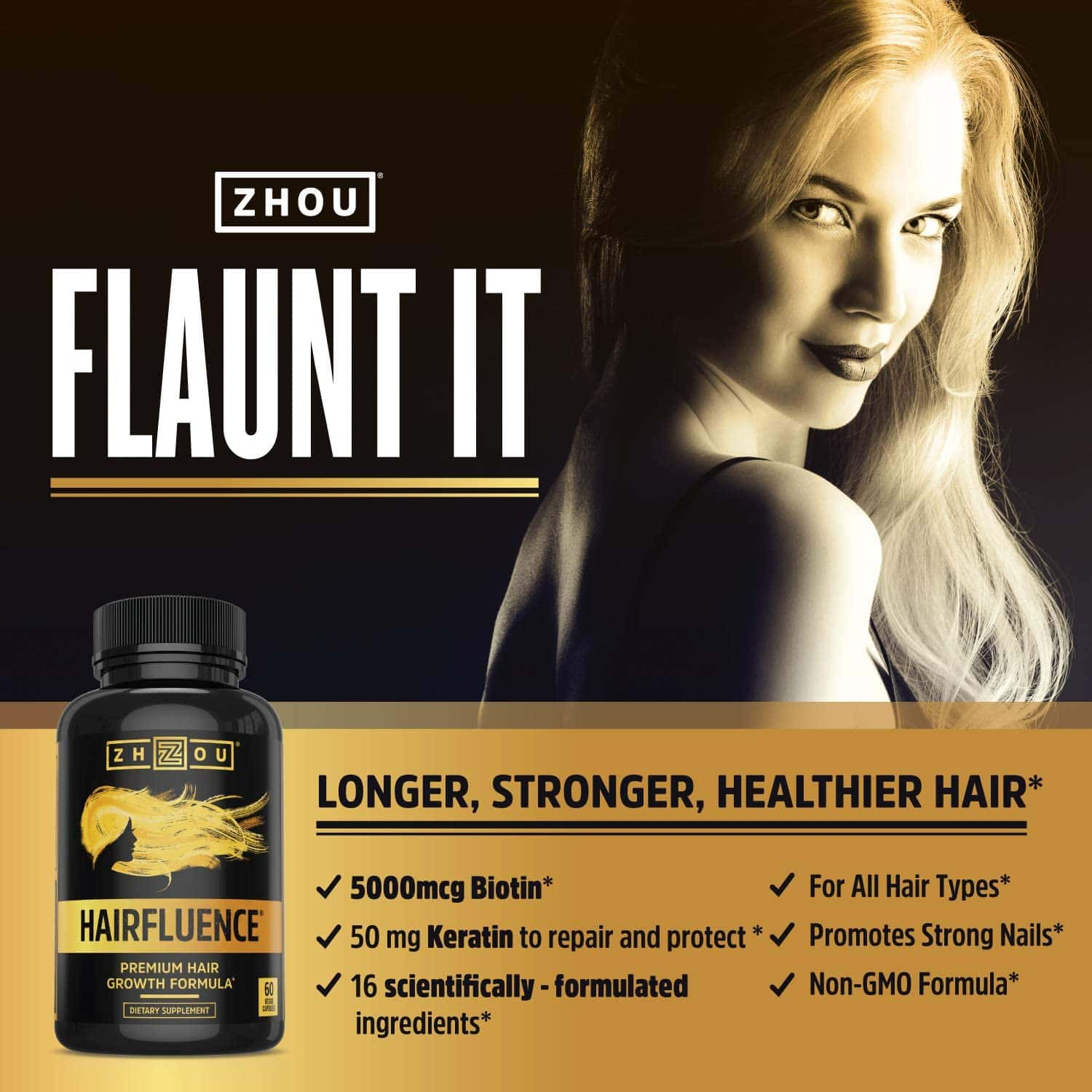 This once-daily supplement supports healthy hair from the inside out