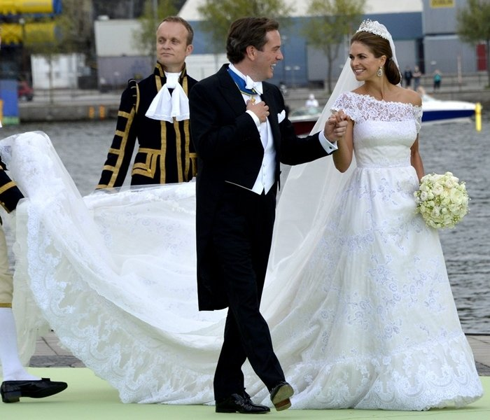 Princess Madeleine of Sweden married businessman Christopher O'Neill at the Royal Palace in Stockholm in a bespoke bridal gown from Valentino Garavani