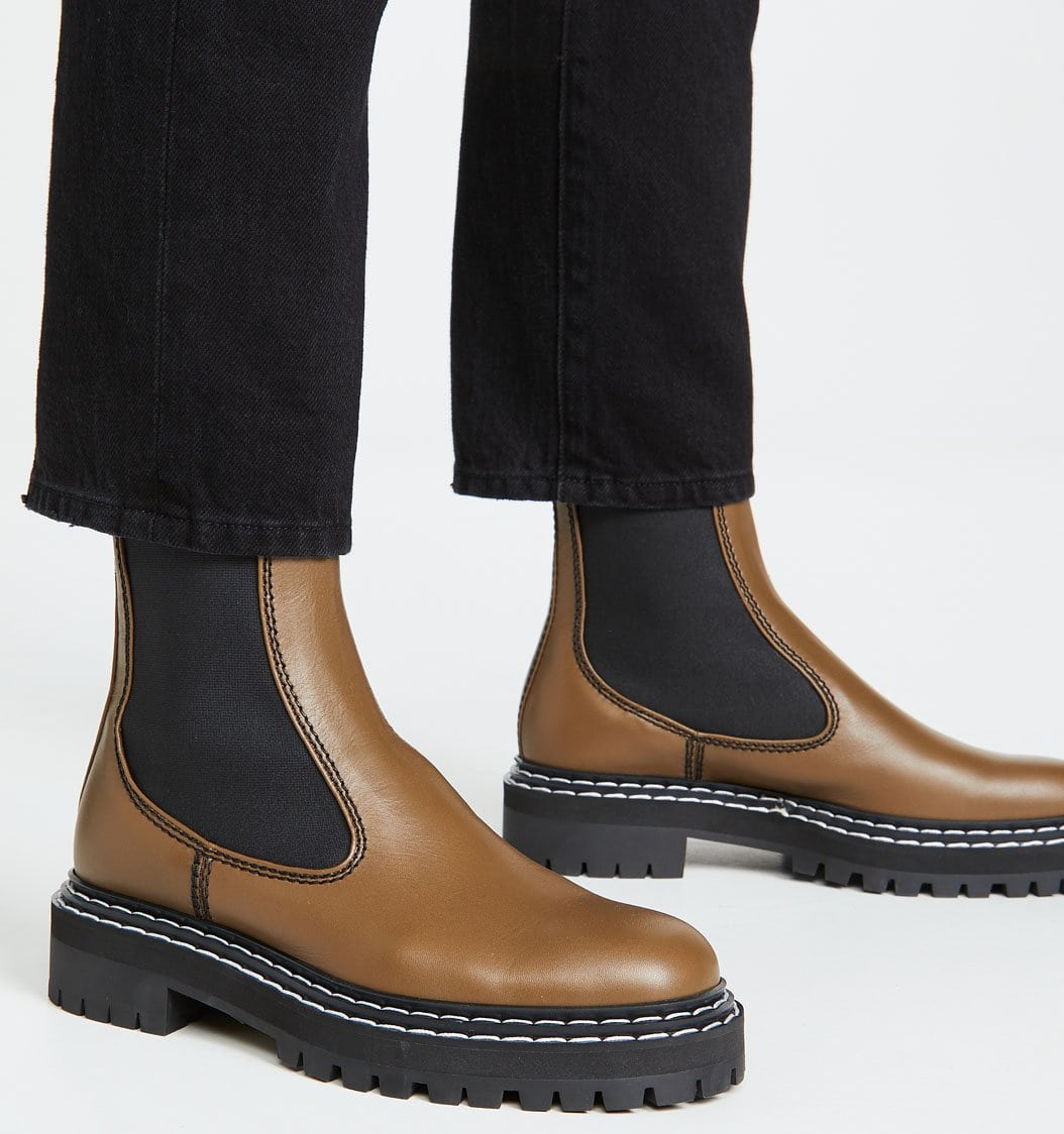 Proenza Schouler's Chelsea boots are set on 1-inch thick lug platforms and 1.5-inch rubber heels