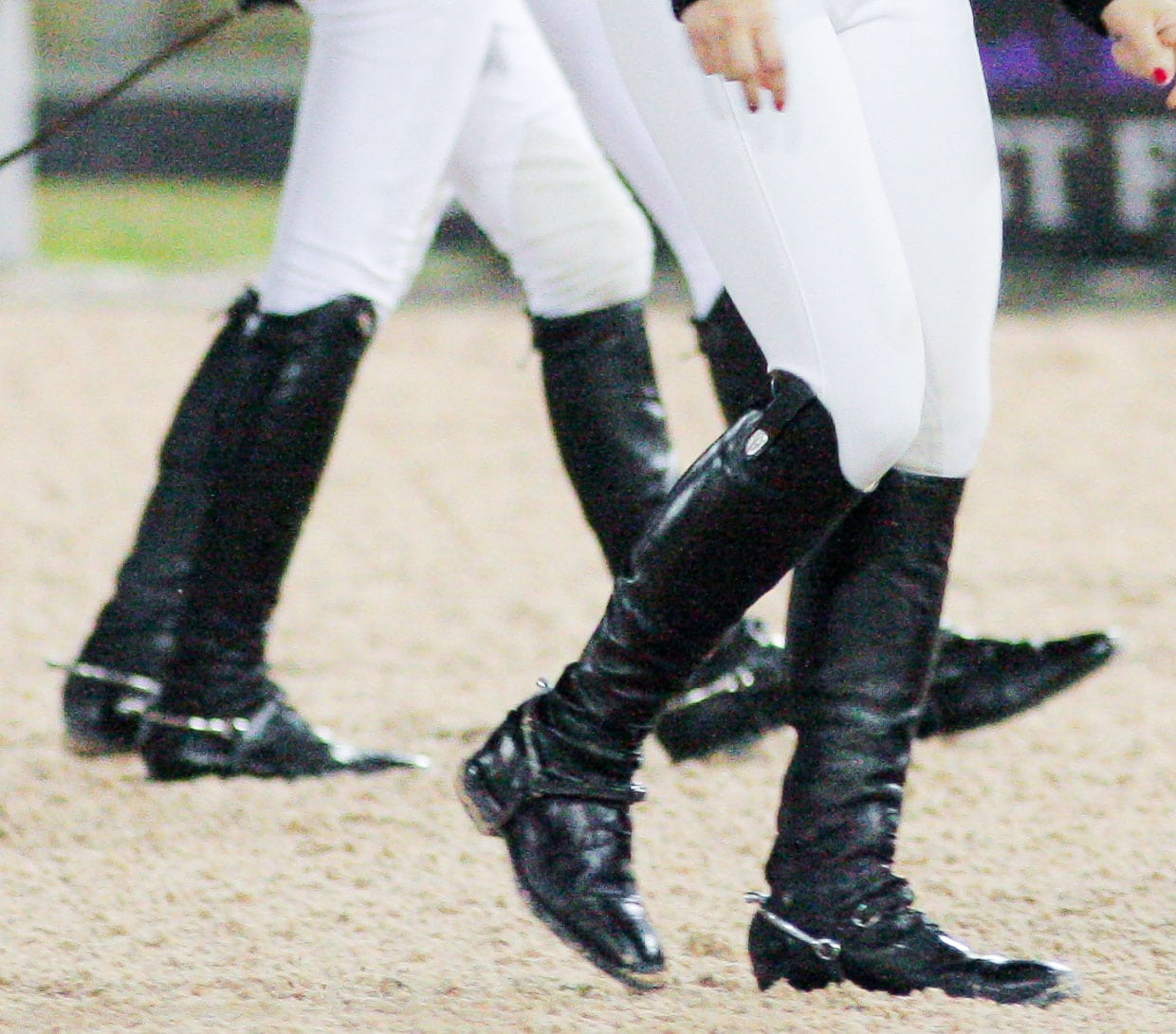Riding boots are usually made from leather and have low heels
