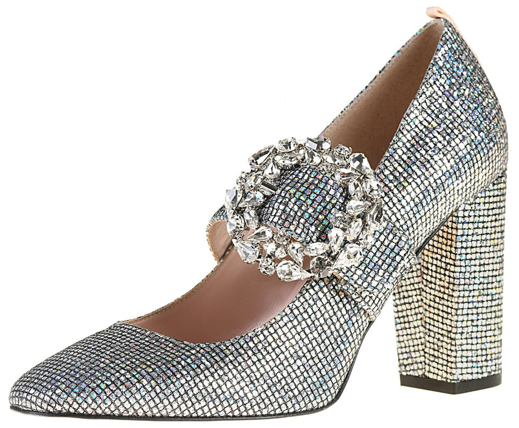 Fabricated SJP by Sarah Jessica Parker almond-toe pumps in a slip-on style with rhinestone-encrusted buckle closure