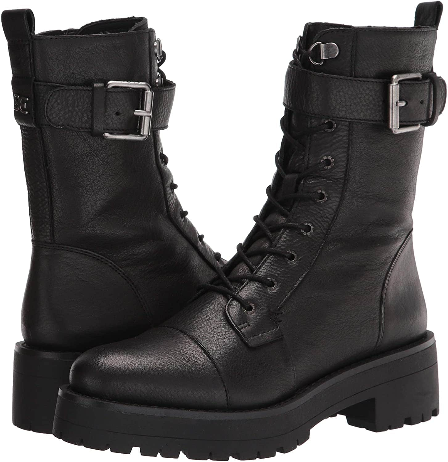 Add moto-edge to your look with the Sam Edelman Junip combat boots, featuring a buckled strap