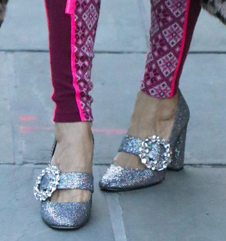 Sarah Jessica Parker adds a glittery finish to her vibrant look with SJP Celine Mary Jane pumps