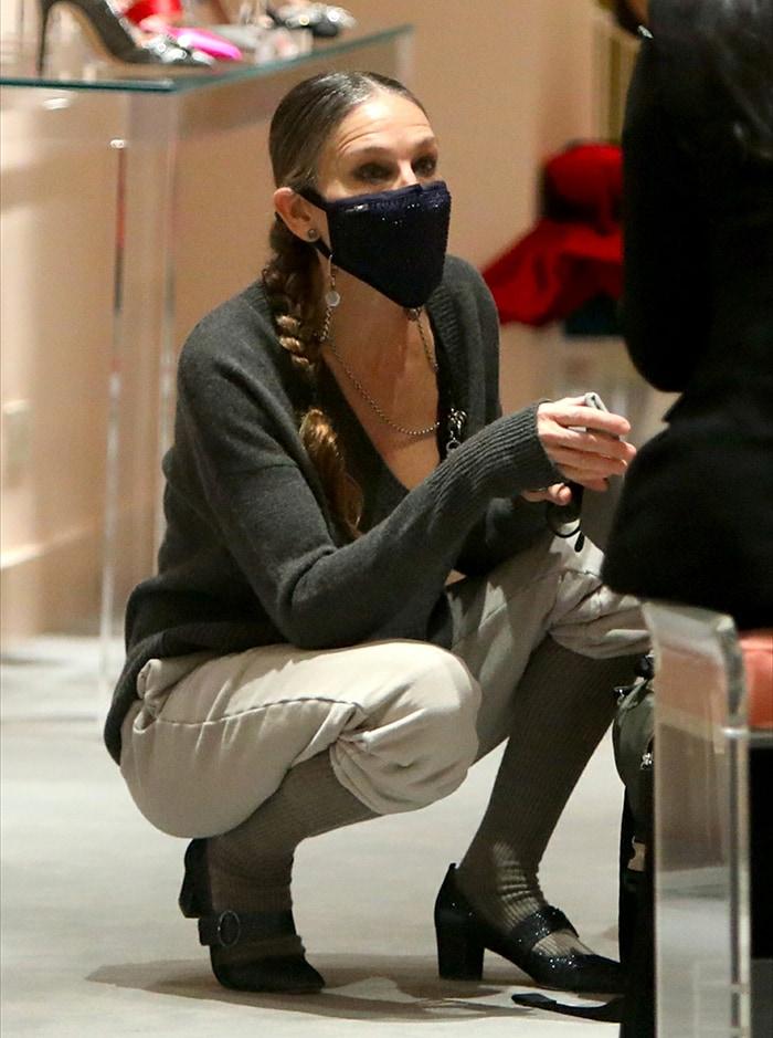Sarah Jessica Parker stays safe with a crystal-embellished face mask
