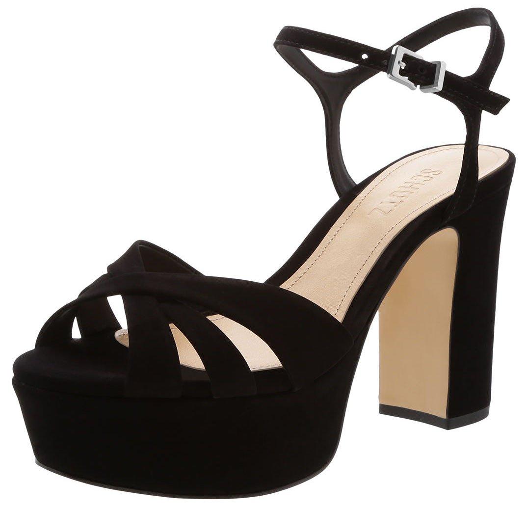 Walk comfortably in Schutz Keefa sandals with thick high heels
