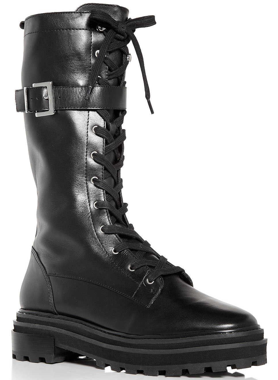 Schutz Moly combat boots feature removable buckled straps and thick platform heels