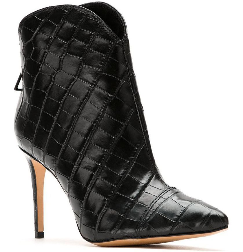 Black crocodile-embossed leather booties from Schutz featuring a pointed toe, a back zip fastening, and a high stiletto heel