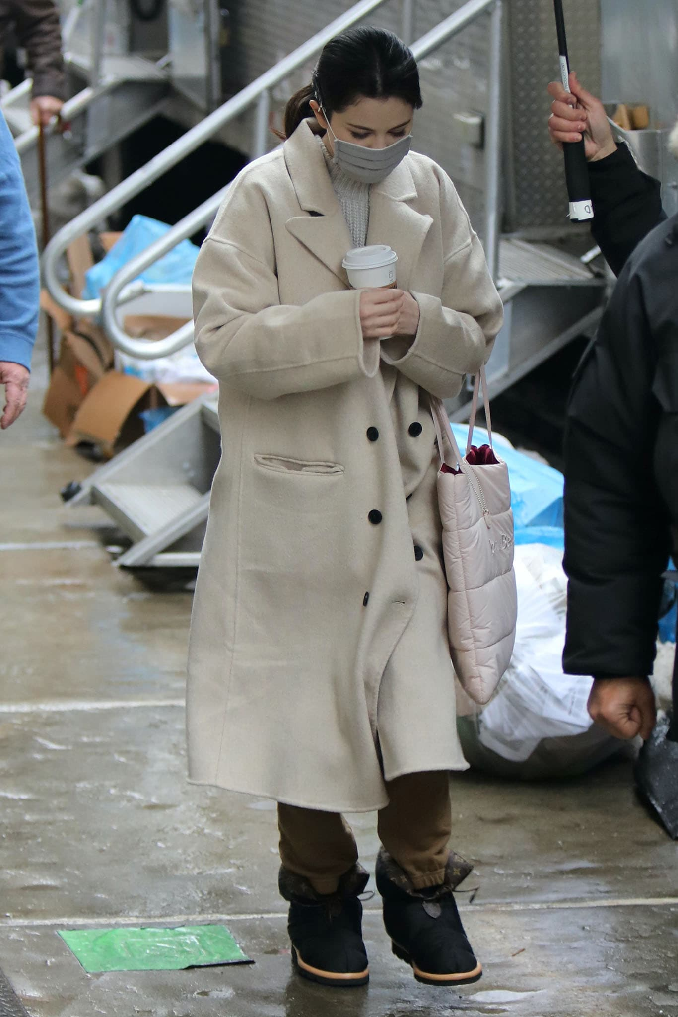 Selena Gomez on the set of her upcoming Hulu comedy series, Only Murders in the Building, on February 9, 2021